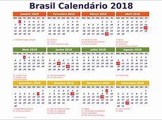 Brasil 2018 Calendario para imprimir com feriados