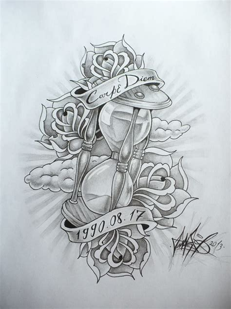 Hourglass Drawing Tattoo Flash