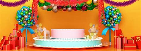 full style  space birthday cake stage background