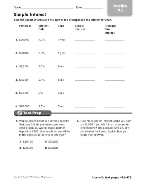 simple interest practice 18 6 worksheet for 5th 7th grade lesson planet