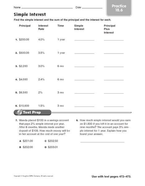 compound interest finding principal worksheet quiz