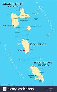 Guadeloupe  Dominica And Martinique Political Map With
