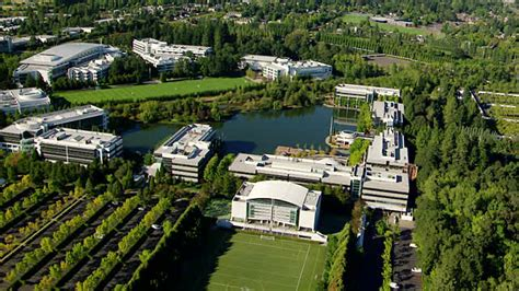 siege nike ms aerial nike headquarters oregon united states stock