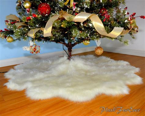white furry fluffy christmas trees new faux fur decor tree skirt white accents