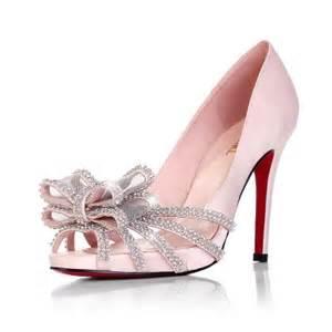 wedding shoes cheap high heel peep toe rhinestone bow pink cheap wedding bridal shoes flowerweddingshoes