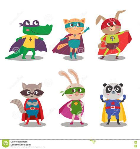 superhero animal kids cartoon vector illustration stock