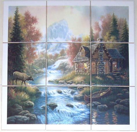 closeout elk cabin ceramic tile mural back splash 9pcs 4