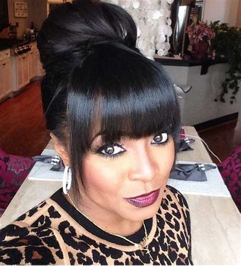Black Hairstyles With Bangs And Buns by 20 Bun Hairstyles With Bangs Hairstyles Haircuts 2016