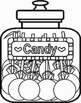 Coloring Candy Pages Jar Printable Christmas sketch template