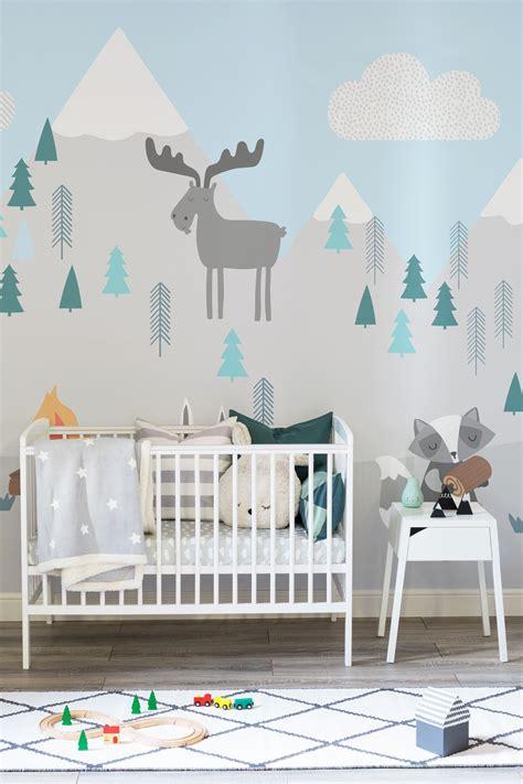 kids mountain scene wall mural  pastel mint snowy