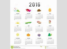 Calendar 2016 Cartoon Cute Vector Stock Vector Image