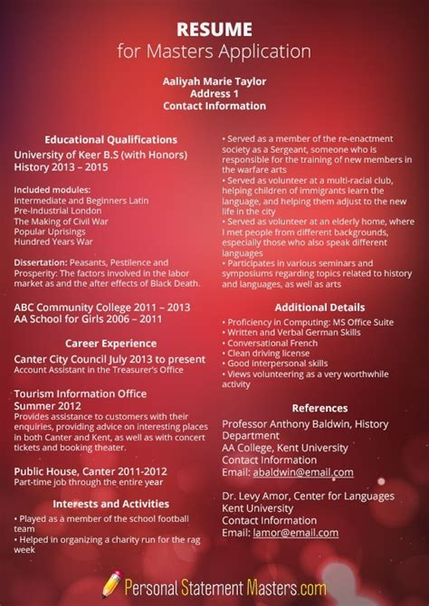 what is the best resume format for applying master studies