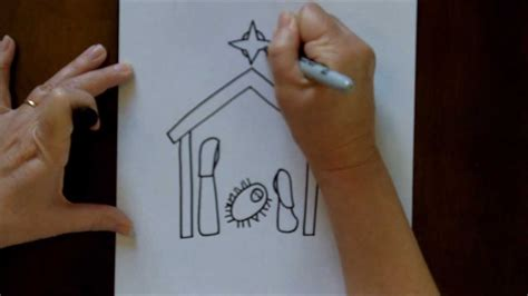 draw  nativity scene simple  easy drawing