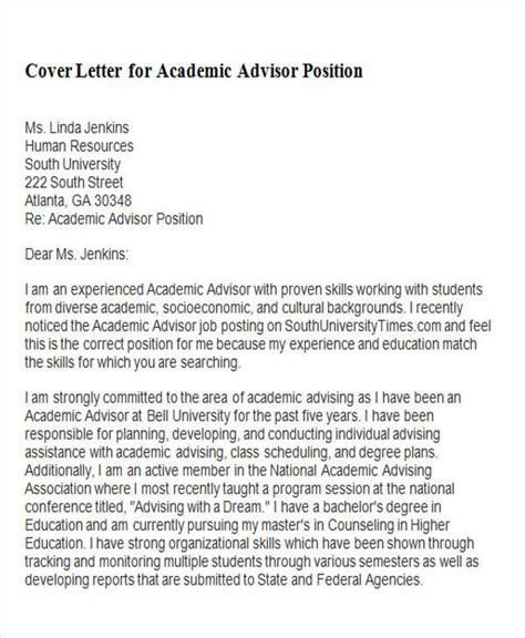 time academic advisor cover letter 6 sle academic advisor cover letters sle templates