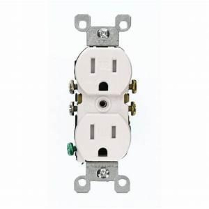 Leviton 15 Amp Tamper-resistant Duplex Outlet  White-t5320-w