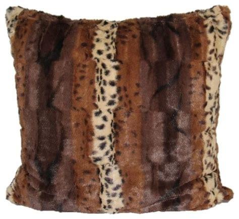 faux fur decorative pillows modhome leopard faux fur animal print accent pillow cover