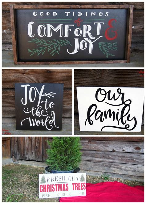diy christmas themed winter wooden signs gathered