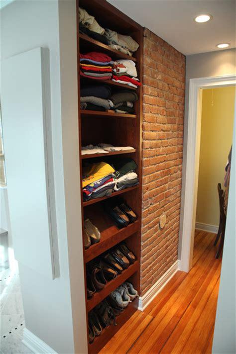 walk  closet  exposed brick chimney eclectic