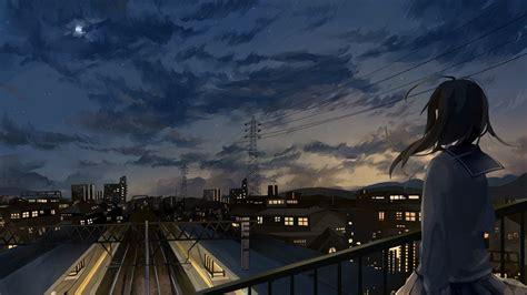 anime girl city wallpaper