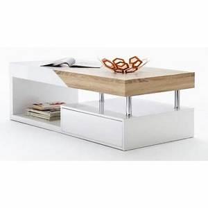 Table Basse Blanc Bois : table basse design blanc laqu et bois ch ne sp achat vente table basse table basse design ~ Teatrodelosmanantiales.com Idées de Décoration
