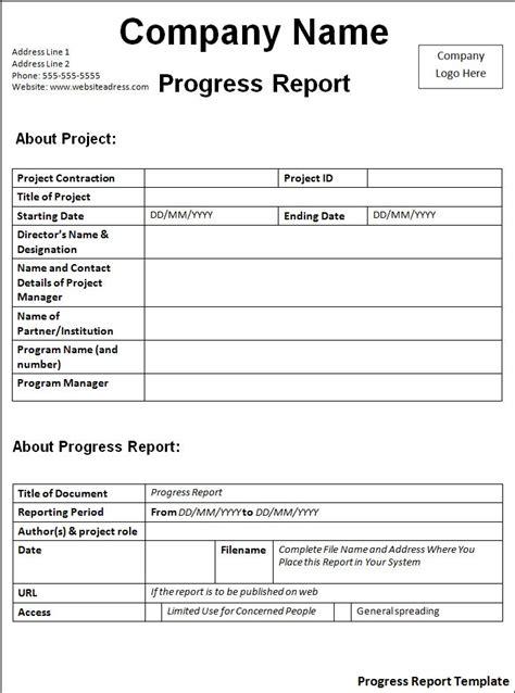progress report template  printable word templates