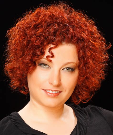 casual short curly hairstyle red hair color