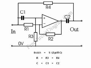 notch filter the circuits diagram and the design formula With fsk filter circuit