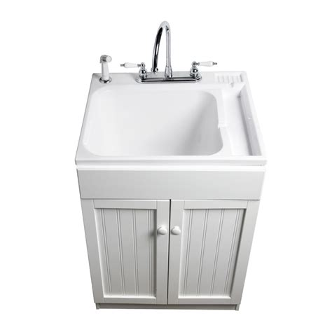 30 deep kitchen cabinets shop asb white composite freestanding utility tub at lowes com