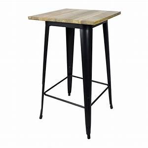 Table De Bar But : table de bar carr e en acier noir mat et plateau orme tucker decoclico ~ Teatrodelosmanantiales.com Idées de Décoration