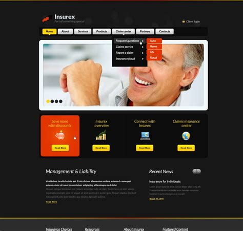 An organization cannot hope to grow and reach out to its target audience without the support of a. Insurance Website Template #34189