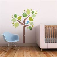 trending tree wall decals Tree and Birdie Fabric Decals Blue