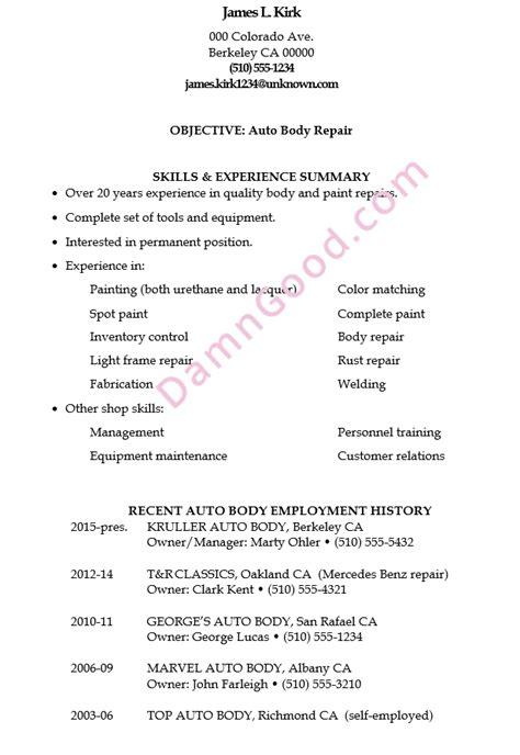resume sle auto repair