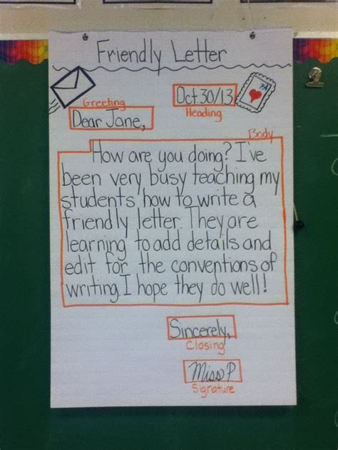 image result  friendly letter anchor chart math