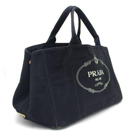 auth prada canapa tote bag nero black denim canvas 28233