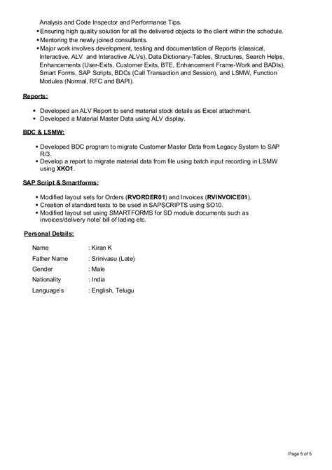 Abap Resume India by Kiran Abap Resume 3yrs