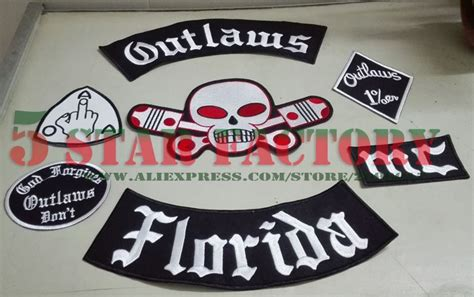 Outlaws Florida Mc Patches Embroidered Iron On Biker