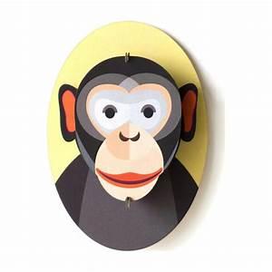 Trophée Animaux Carton : mini troph e t te de singe en carton 15 cm studioroof t te d 39 animaux et troph es creavea ~ Melissatoandfro.com Idées de Décoration