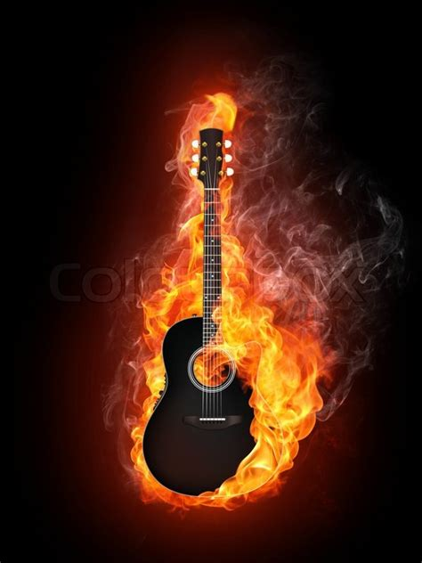 acoustic electric guitar  fire flame isolated  black