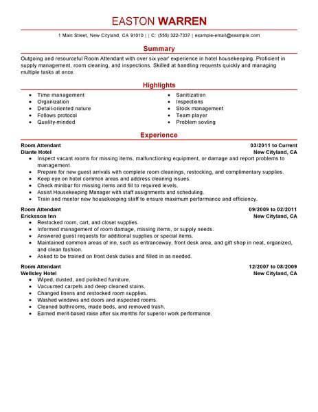 Hotel Room Attendant Resume by Best Room Attendant Resume Exle Livecareer