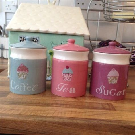 cupcake canisters for kitchen cupcake tea coffee sugar canisters by next gift ideas