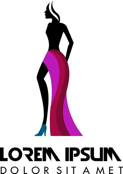 fashion logo design with model in silhouette style free vector in adobe illustrator ai ai