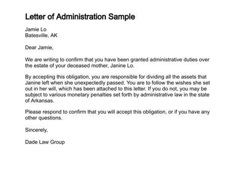 letter of administration letter of administration