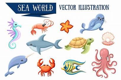 Sea Cartoon Animals Animal Ocean Vectors Clipart
