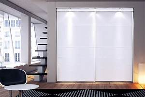 Portea for Porte de garage coulissante et porte interieur blanc laqué