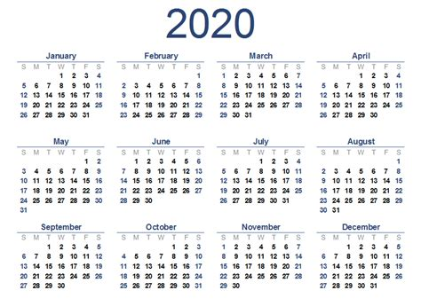 yearly  printable calendar templates  word