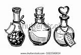 Potion Poison Bottles Drawing Drawn Hand Bottle Potions Illustration Coloring Template Vector Clip Sketch Converted Shutterstock Artwork Illustrations sketch template