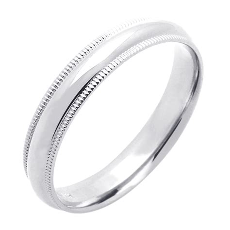 s 14k white gold 4mm milgrain plain domed wedding band ring gift box ebay