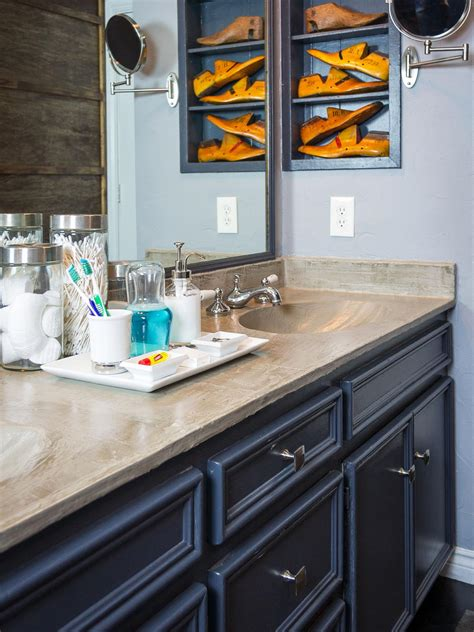 Concrete Countertop Bathroom by How To Refresh A Dated Vanity Countertop With Concrete Hgtv