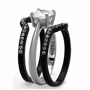 his hers 4 pcs black ip stainless steel wedding ring set With black wedding ring sets