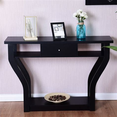 costway black accent console table modern sofa entryway